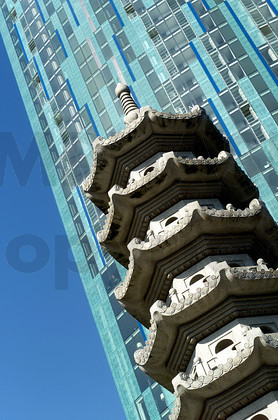 Detail shot of Chinese Pagoda in front of Raddison SAS Hotel, Beetham Tower on Suffolk Street, Birmingham - UK